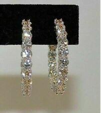 1.80Ct Round Cut VVS1/D Diamond Hoop Earrings Solid 14K White Gold Finish