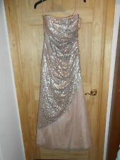 NEW deb Long Formal Nude Pink Tan Tulle Sequins Dress Strapless sz 13/14 Elegant