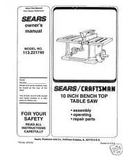 Sears Craftsman  Table Saw Manual Model # 113.221740