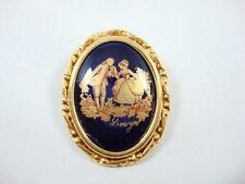 Vintage Victorian Pin Porcelain Limoges Gobalt blue Brooch Romantic Gold Frame