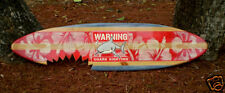Vintage Horizontal Shark Bite Sign Wood 4 Foot Red Classic Surfboard Beach Decor