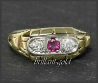 Diamant Brillant & Rubin Ring aus 585 Gold, Antik ca 1930, Weißgold & Gelbgold