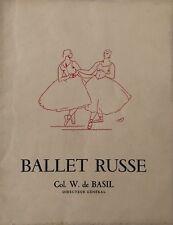 DERAIN ANDRE BALLET RUSSE AU THEATRE NATIONAL DE CHAILLOT COL. W. DE BASIL 1947