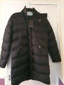 Ladies Brave Soul Black Fur Trimmed Hooded Coat UK Size 14