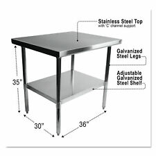 Alera Nsf Stainless Steel Commercial Kitchen Prep & Work Table - Multiple Sizes