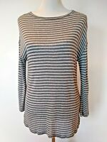 Soft Joie Womens Grey White Striped Long Sleeve Shirt Top Size Small