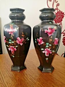 VICTORIAN 6 SIDED VASES BLACK WITH HAND PAINTED ROSE DESIGNS X PAIR 30cm TALL