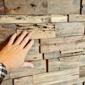 Wandverblender Indo Wandverkleidung Teak Altholz Riemchen Holz Paneele rustikal