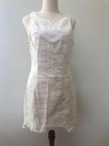Angel Biba Size 12 Short Yellow & Purple Sleeveless Round Neck Sheath Dress Zip