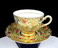 """COLCLOUGH CHINA ENGLAND YELLOW GILT FLORAL CHINTZ ROSES 2 3/4"""" CUP AND SAUCER"""
