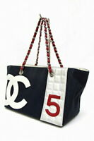 CHANEL CC No.5 Chain Shoulder Tote Hand Bag Canvas Navy Used