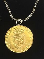 "Mary Queen Of Scots Coin WC38 Gold Pewter On a 18"" Silver Plated Chain Necklace"
