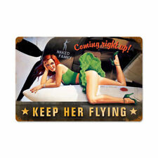 Keep her Flying Nose tipo aereo pin up girl Retrò SIGN IN LAMIERA SCUDO SCUDO GRANDE