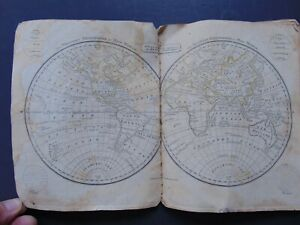 c1819 SCHOOL ATLAS - THE WORLD Published by LINCOLN & EDMANDS - ANTIQUE MAPS
