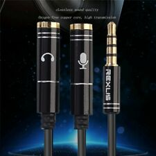 3.5mm Audio Mic Headset Y-Splitter Cables Adapter TRRS to 2 TRS For Laptop Phone