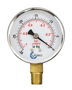 "2-1/2"" Vacuum Gauge - Chrome Plated Steel Case, 1/4""NPT, Lower Mnt. -30 inHg/0"