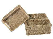 Small Decorative Wicker Baskets for Organizing Bathroom Wooden Handle 3 Pack