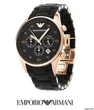 Emporio Armani AR5905 Mens Luxury Black/Rose Gold Chronograph Watch Brand New