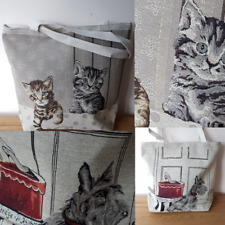 WOMEN'S TOTE HAND SHOULDER BAG Unique Animal Designs With Tapestry Canvas Style