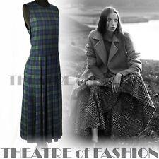 VINTAGE LAURA ASHLEY DRESS TARTAN 10 12 14 20s 30s VICTORIAN EDWARDIAN 40s 50s