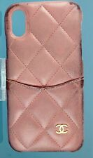 Auth CHANEL CC Matelasse iPhone X Phone Case Caviar Pink Leather Case 27523070
