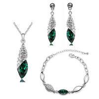 Crystal Emerald Green Jewellery Set Teardrop Earrings Necklace & Bracelet S809