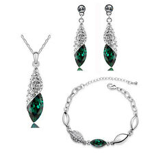 Crystal Emerald Green Jewellery Set Teardrop Earrings Necklace & Bracelet S809