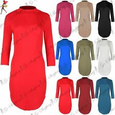 Unbranded Polo Neck 3/4 Sleeve Plus Size Dresses for Women
