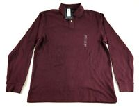 Roundtree & Yorkee New Mens Maroon Long Sleeve Polo Rugby Shirt Size Medium