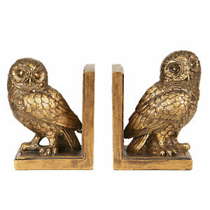 Heavy Clayre & Eef Bookends With Owl Leseeule 1,6kg New 16cm Gold