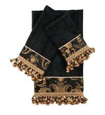 Sherry Kline China Art Black and Gold Decorative Towel 3 Piece Set