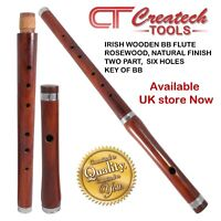 """Traditional Irish Wooden flute in the key of """"BB"""" Rose wood, two part, Hand made"""