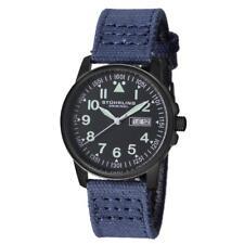 Stuhrling 850.03 850 03 Aviator Quartz Day Date Canvas Blue Strap Mens Watch