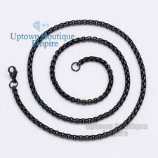 "18"" Men stainless steel Black 3.5 mm Pearl Box Necklace Chain"
