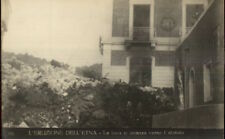Italy Volcano Eruption Disaster Dell Etna Lava Pile c1910 Real Photo Postcard