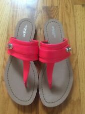 NWOB Coach Eileen Leather Fluorescent Pink sandals 8.5