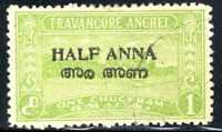 1949 India🎡 Travancore State Overprint 1/2a on 1ch SC#6 A13 USED