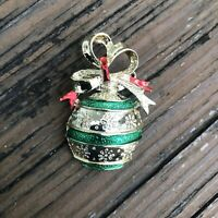 Vintage Christmas Ornament Enamel Brooch Red Green Gold Bow Holiday Pin Jewelry