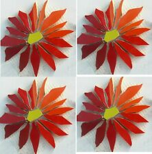 Large Red Aster Daisy Mosaic Tile Set - Broken Cut China Plate Tiles