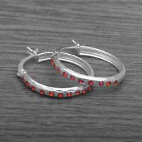 Genuine 925 Sterling Silver CZ Creole Hoop Sleeper Earrings Ruby Red