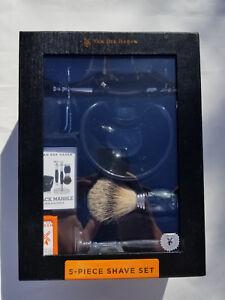 NEW Van Der Hagen Luxury Black Marble 5Pc Shave set DE Razor, Bowl, Stand, Brush