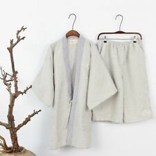 Mens Embroidered Kimono Pyjama Sets Loose Japanese Nightwear Plus Size Jinbei