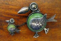 Vintage silver TAXCO MEXICO 1940's GREEN TURQUOISE BIRD CHICK BROOCH pin RARE