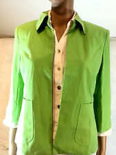 Green Jacket Silk Linen Coldwater Creek Lined Collar Open Front Petite 4 PXS
