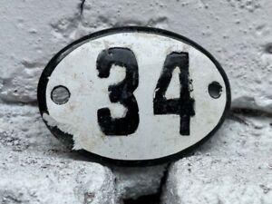 Number 34 Vintage Enamel House Numbers Europe Room Number Hotel Bath SPA