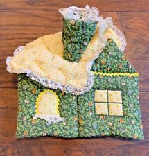 Vintage Handmade Square Tissue Box Cover Cloth House Shape Green Yellow