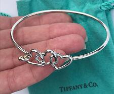 Tiffany & Co 18Ct 18K Gold Sterling Silver Three Hearts Hook Bangle Bracelet