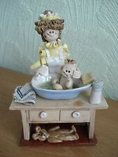 """Laura Dunn Studio Pottery Figurine """"Lady giving a bath to the baby"""""""