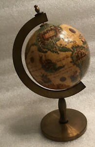 Vintage Old World Rotating Desk Globe On A Brass Stand Made In Italy 🇮🇹