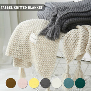Luxury Knitted Throw Blanket Large Pom Pom Warm Fluffy Sofa Bed Chair Blanket BS
